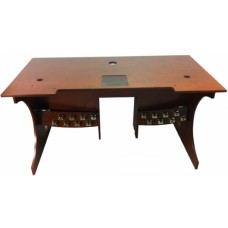 Console Table with 16 Toe Studs - Red Walnut